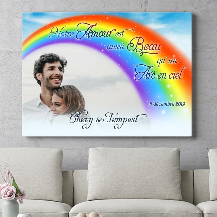 Cadeau personnalisé L'amour sous un l'arc-en-ciel
