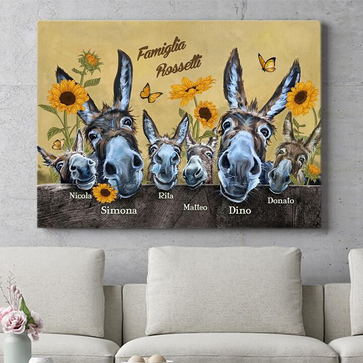 Regalo personalizzato Famiglia di asini