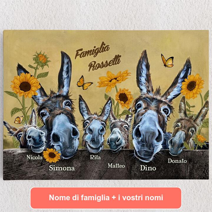Tele personalizzate Famiglia di asini