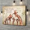 Stampa personalizzata su tela Famiglia di giraffe