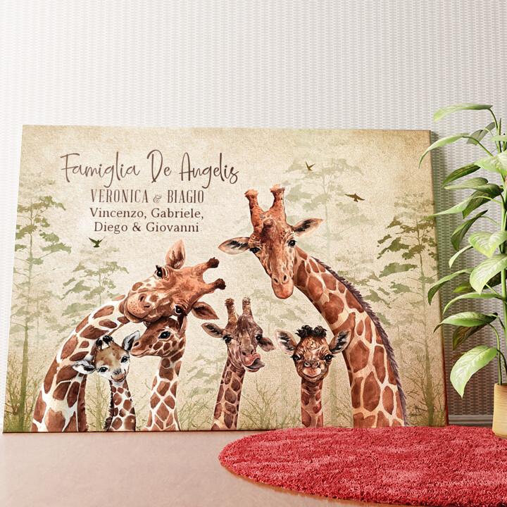 Tela personalizzata Famiglia di giraffe