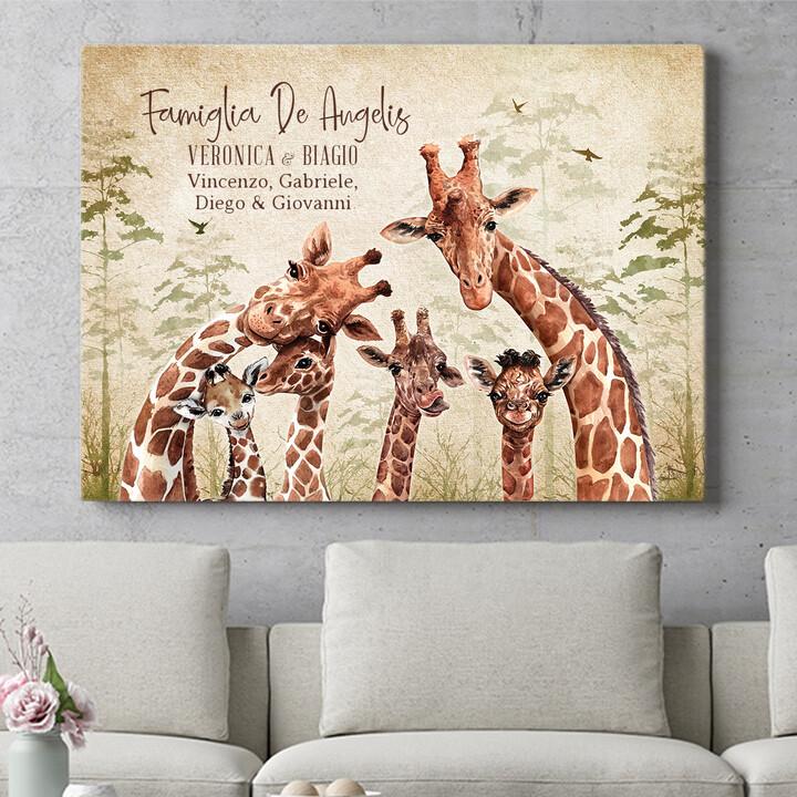 Regalo personalizzato Famiglia di giraffe