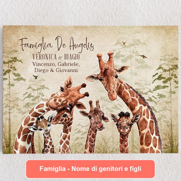 Tele personalizzate Famiglia di giraffe