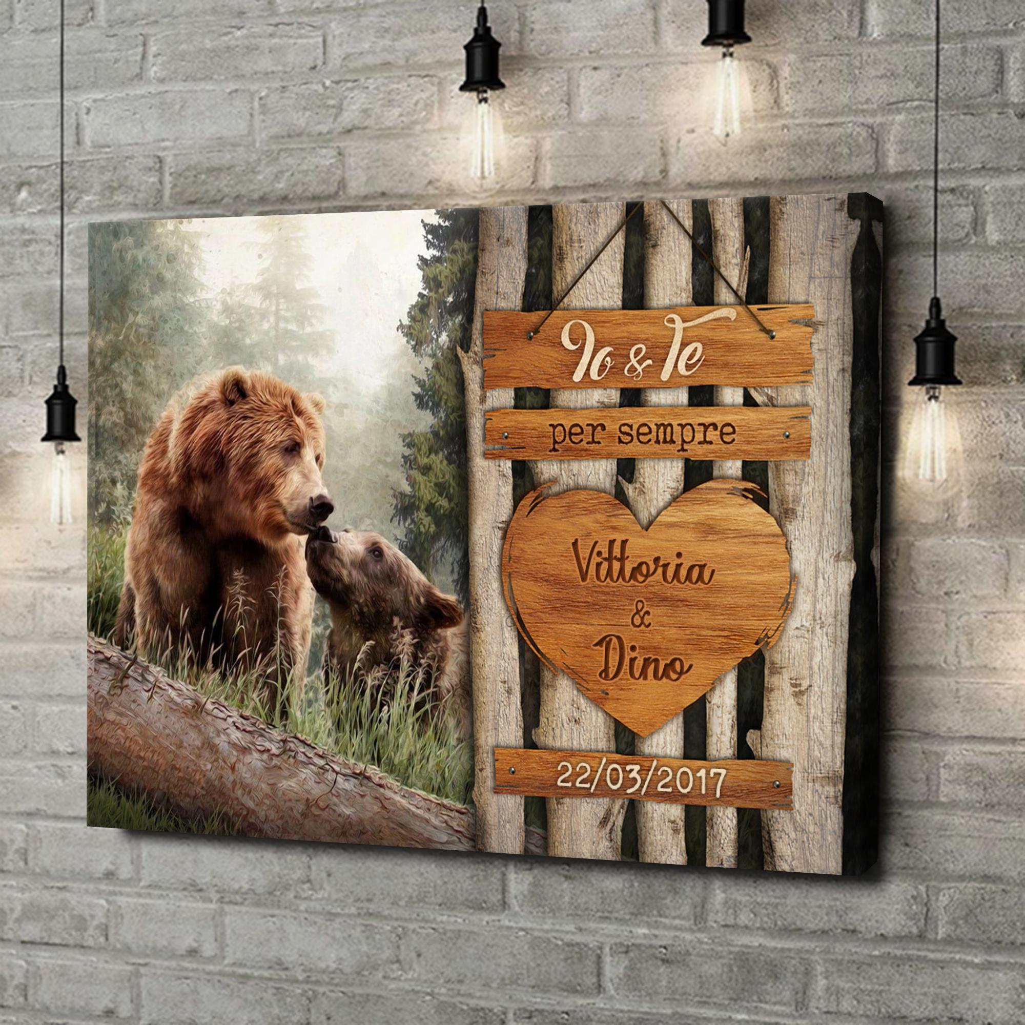 Stampa personalizzata su tela Amore di Orso