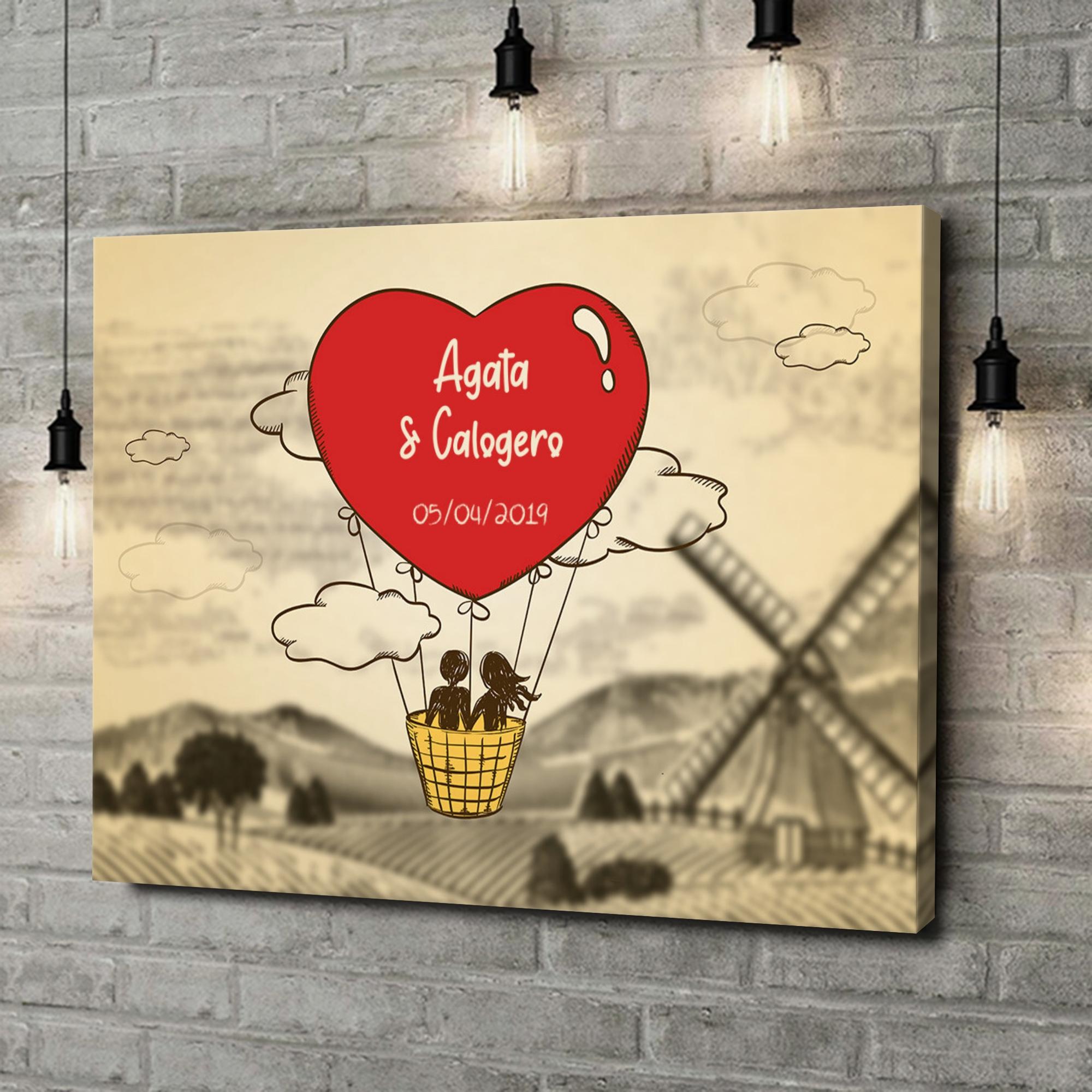 Stampa personalizzata su tela Volo d'amore