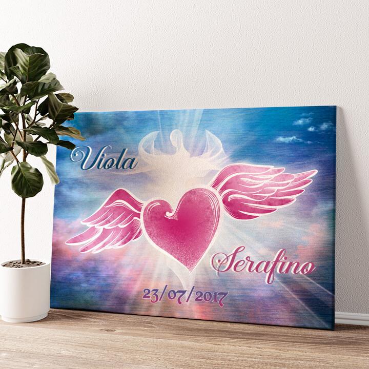 Cuore d'angelo Tela personalizzata