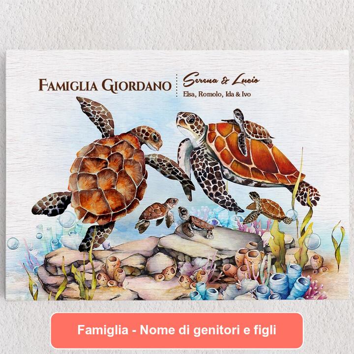 Tele personalizzate Famiglia di tartarughe
