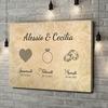 Stampa personalizzata su tela Innamorati fidanzati sposati