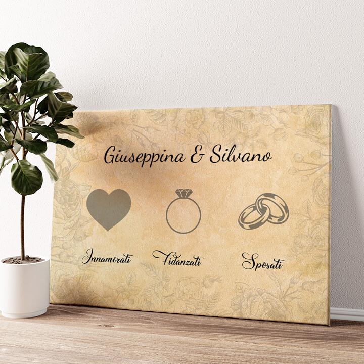 Innamorati fidanzati sposati Tela personalizzata