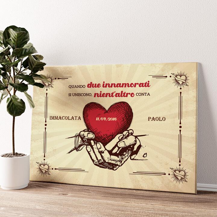 Mani dell'amore Tela personalizzata