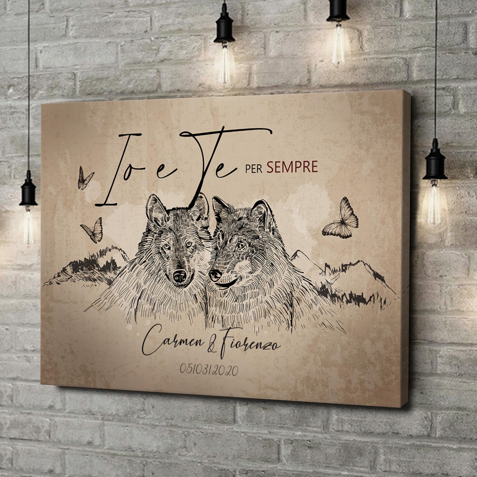 Stampa personalizzata su tela Storia d'amore dei lupi