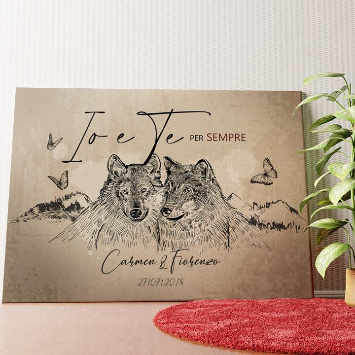 Tela personalizzata Storia d'amore dei lupi