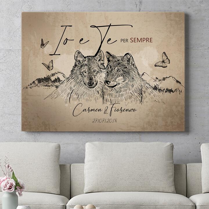 Regalo personalizzato Storia d'amore dei lupi