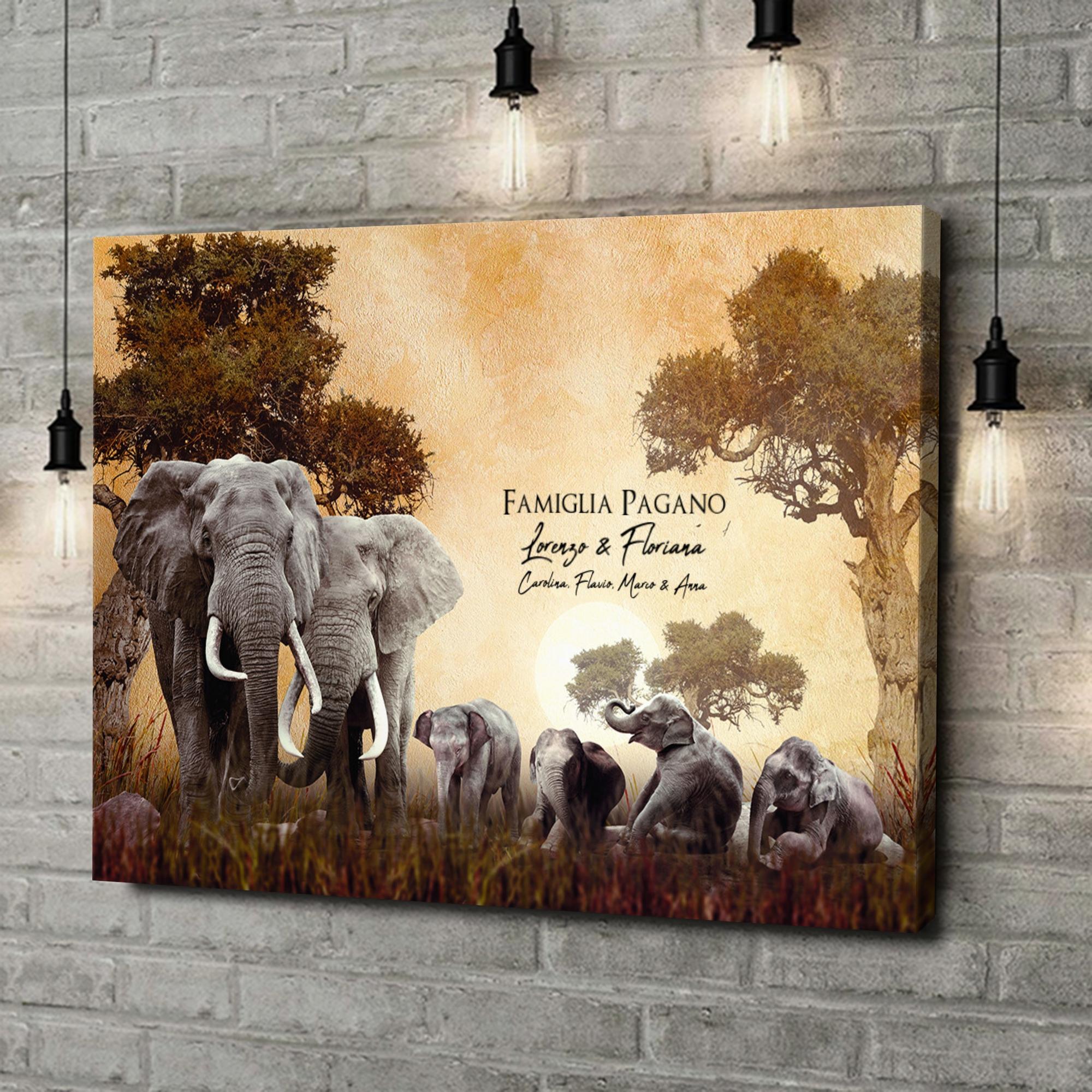 Stampa personalizzata su tela Famiglia di elefanti