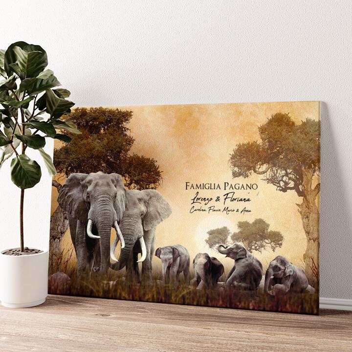 Famiglia di elefanti Tela personalizzata