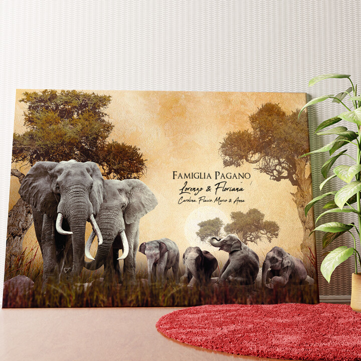 Tela personalizzata Famiglia di elefanti