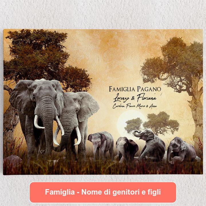 Tele personalizzate Famiglia di elefanti