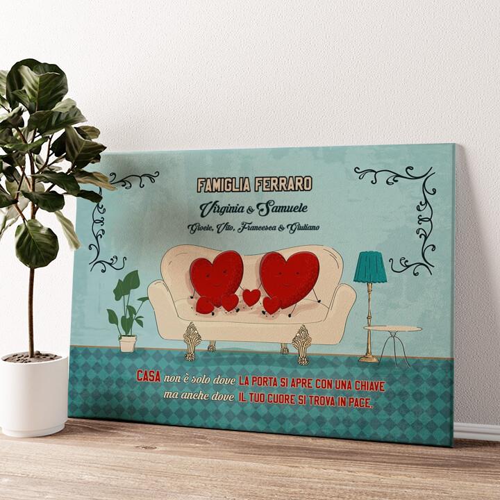 Una casa con un cuore Tela personalizzata