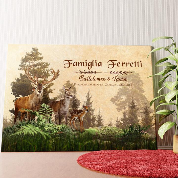 Tela personalizzata Famiglia di cervi