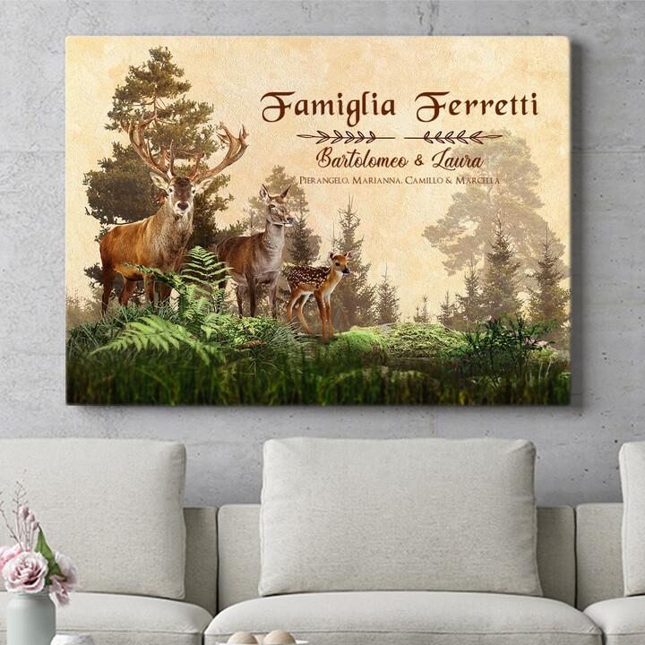 Regalo personalizzato Famiglia di cervi