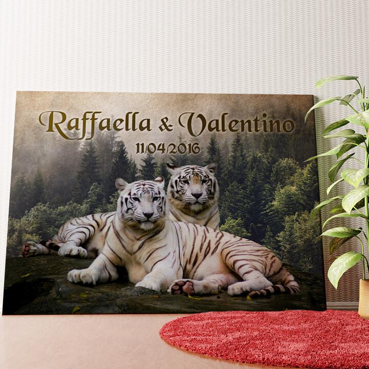 Tela personalizzata Tigre Bianca