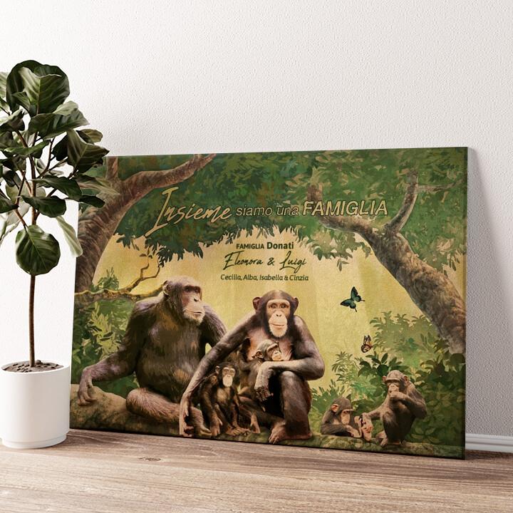 Famiglia di scimmie Tela personalizzata