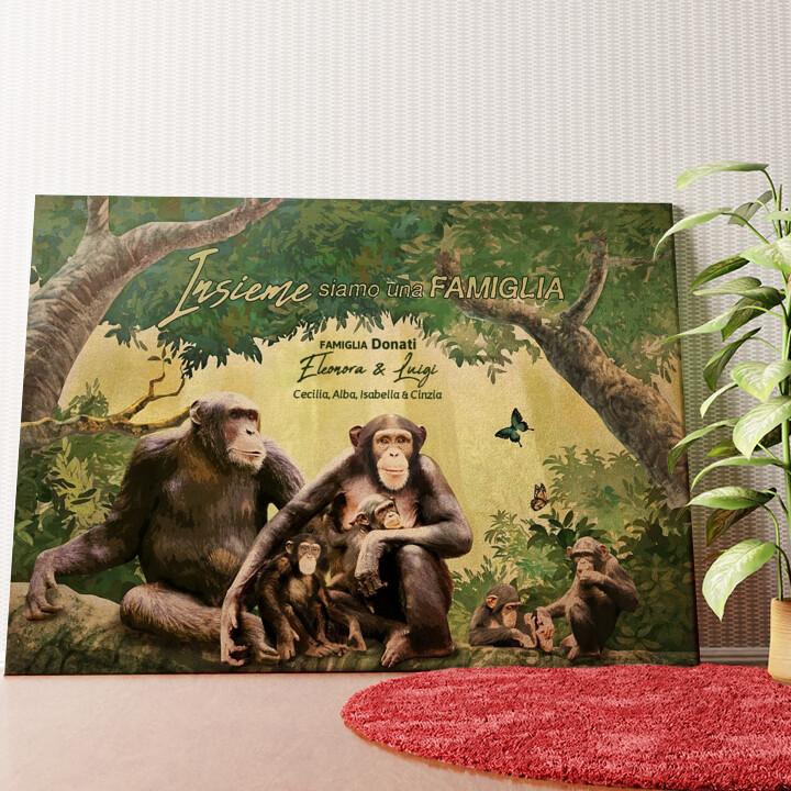 Tela personalizzata Famiglia di scimmie