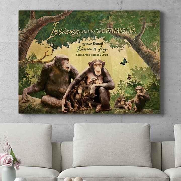 Regalo personalizzato Famiglia di scimmie