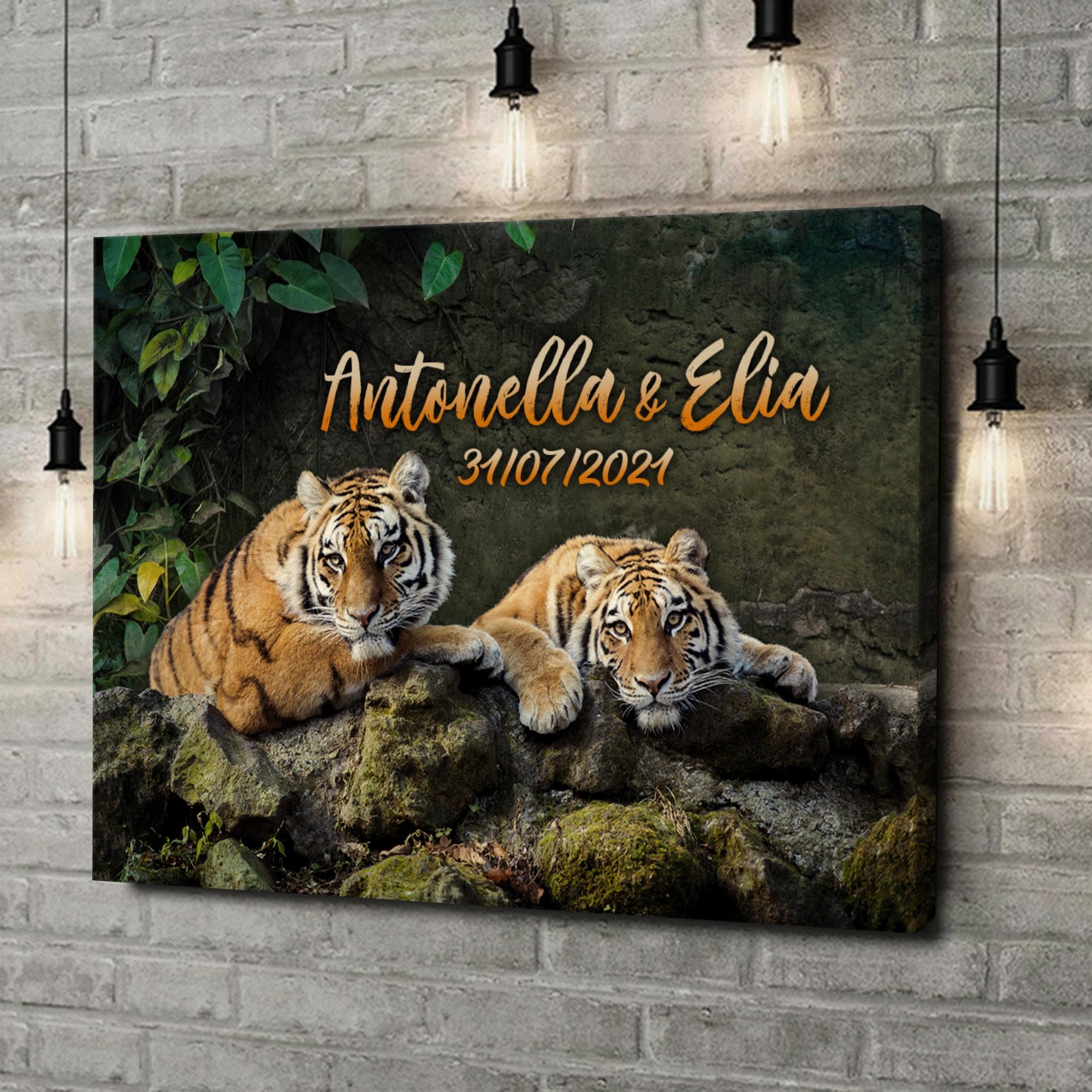 Stampa personalizzata su tela Coppia di tigri