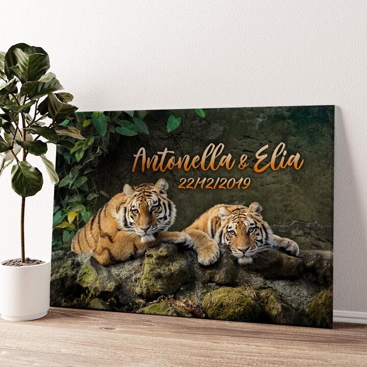 Coppia di tigri Tela personalizzata