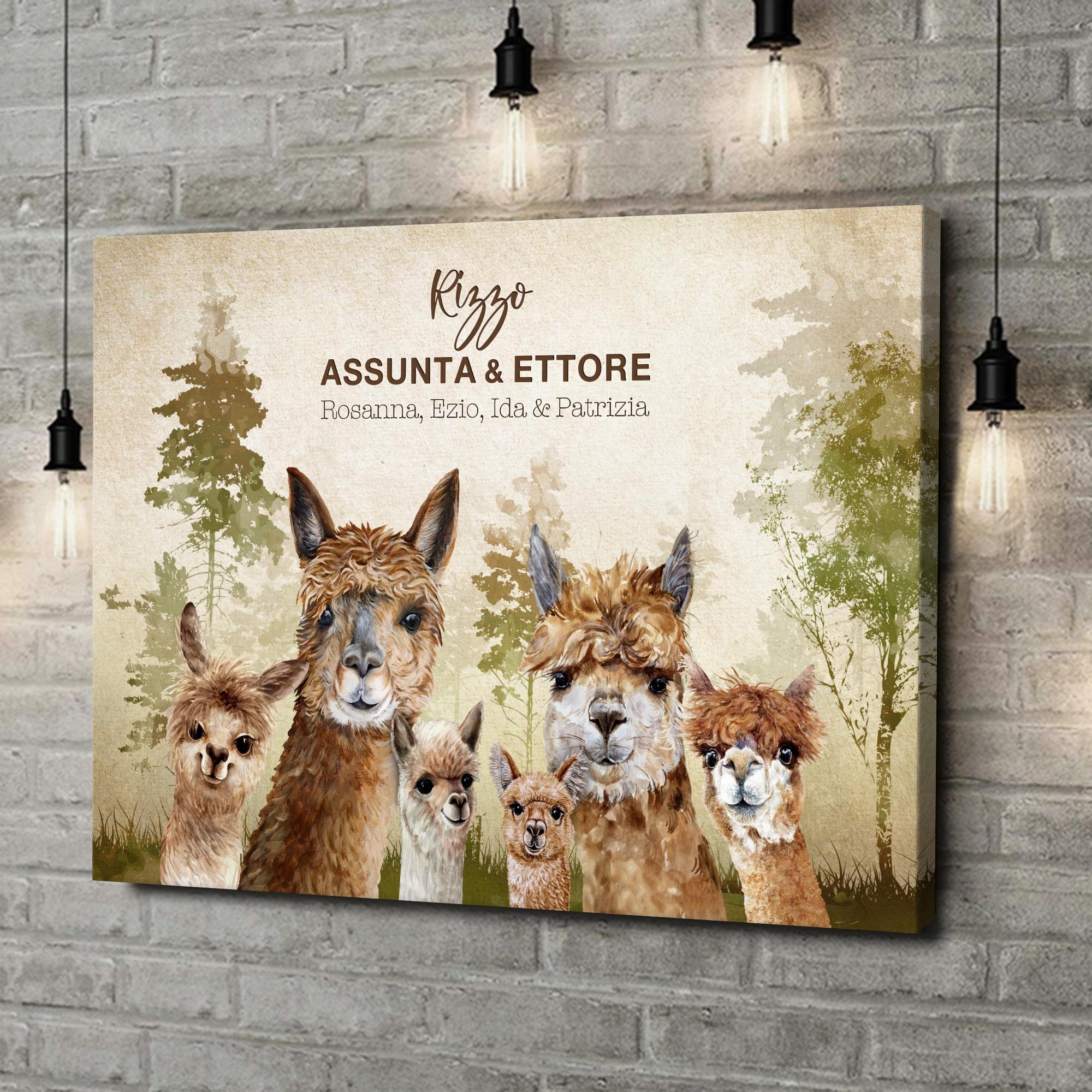 Stampa personalizzata su tela Famiglia di alpaca