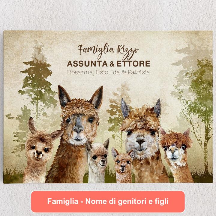 Tele personalizzate Famiglia di alpaca