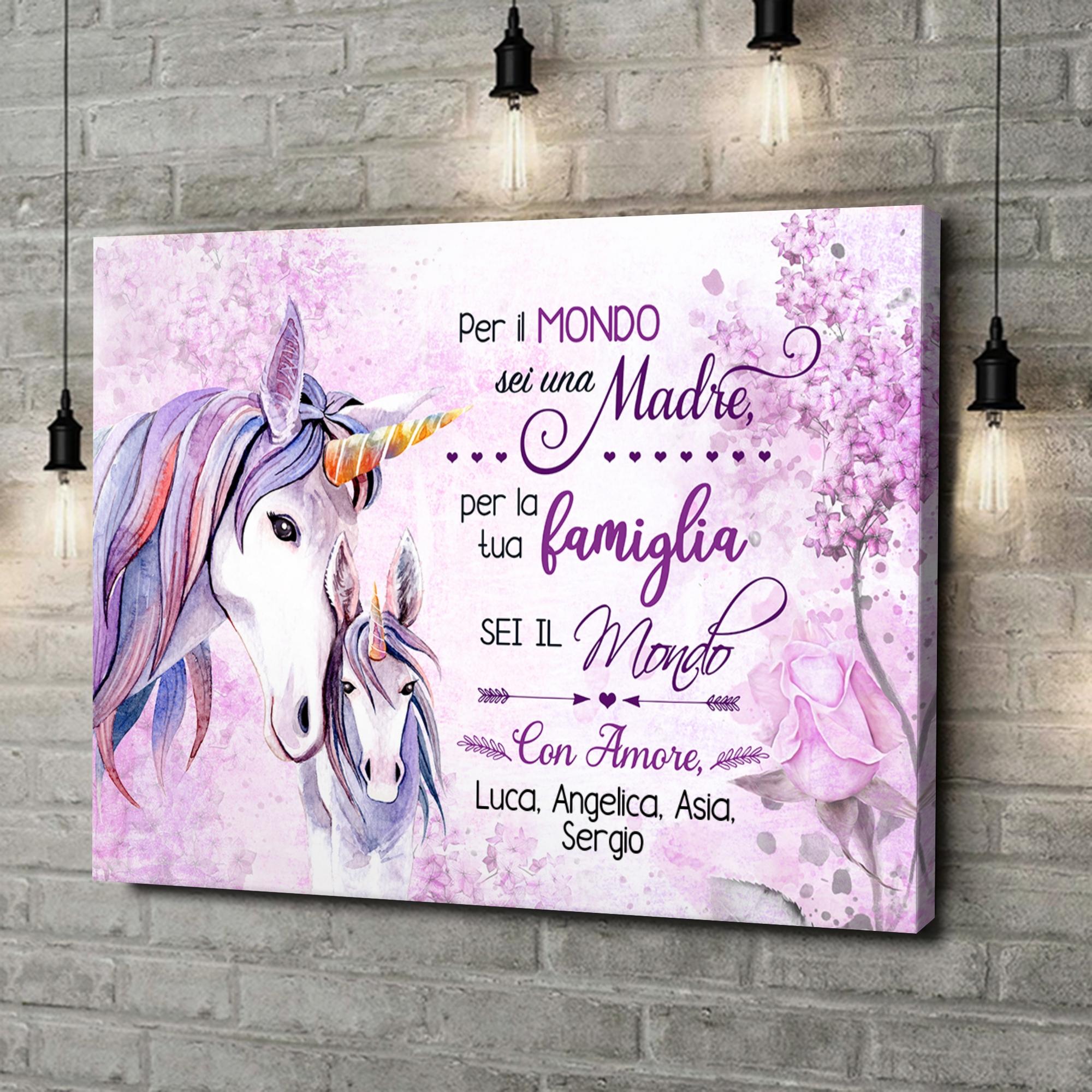 Stampa personalizzata su tela Mamma Unicorno