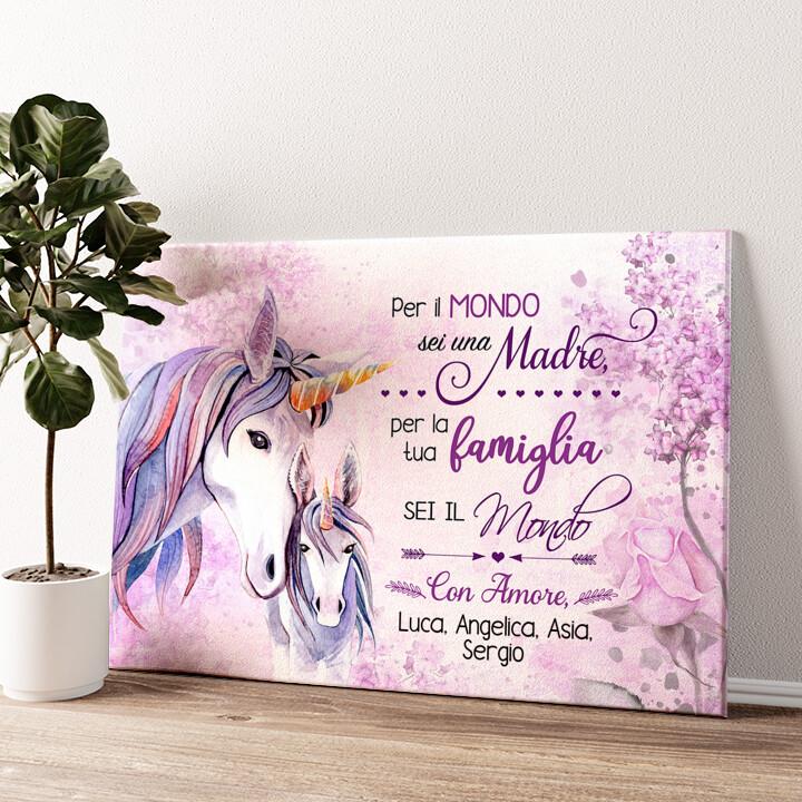 Mamma Unicorno Tela personalizzata