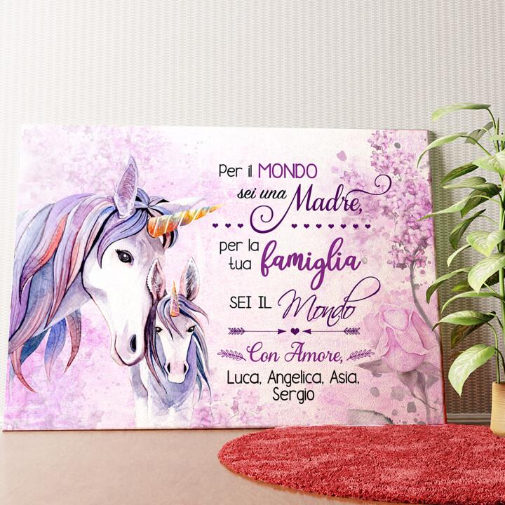 Tela personalizzata Mamma Unicorno