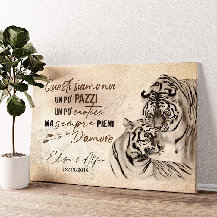 Amore Tigre Tela personalizzata