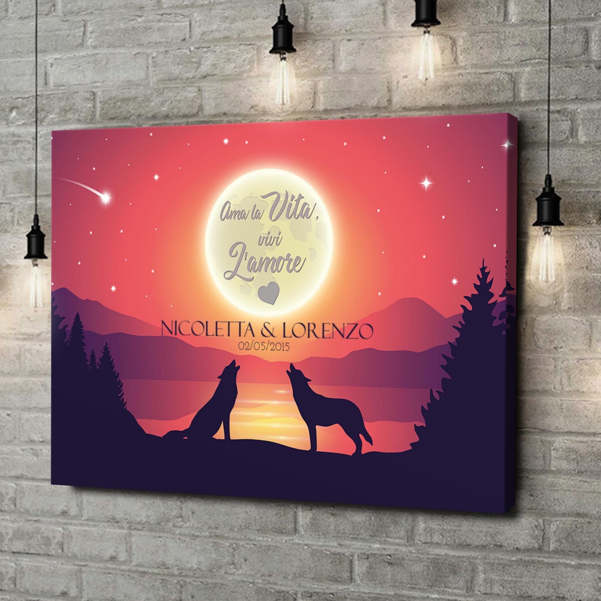 Stampa personalizzata su tela Amore al chiaro di luna