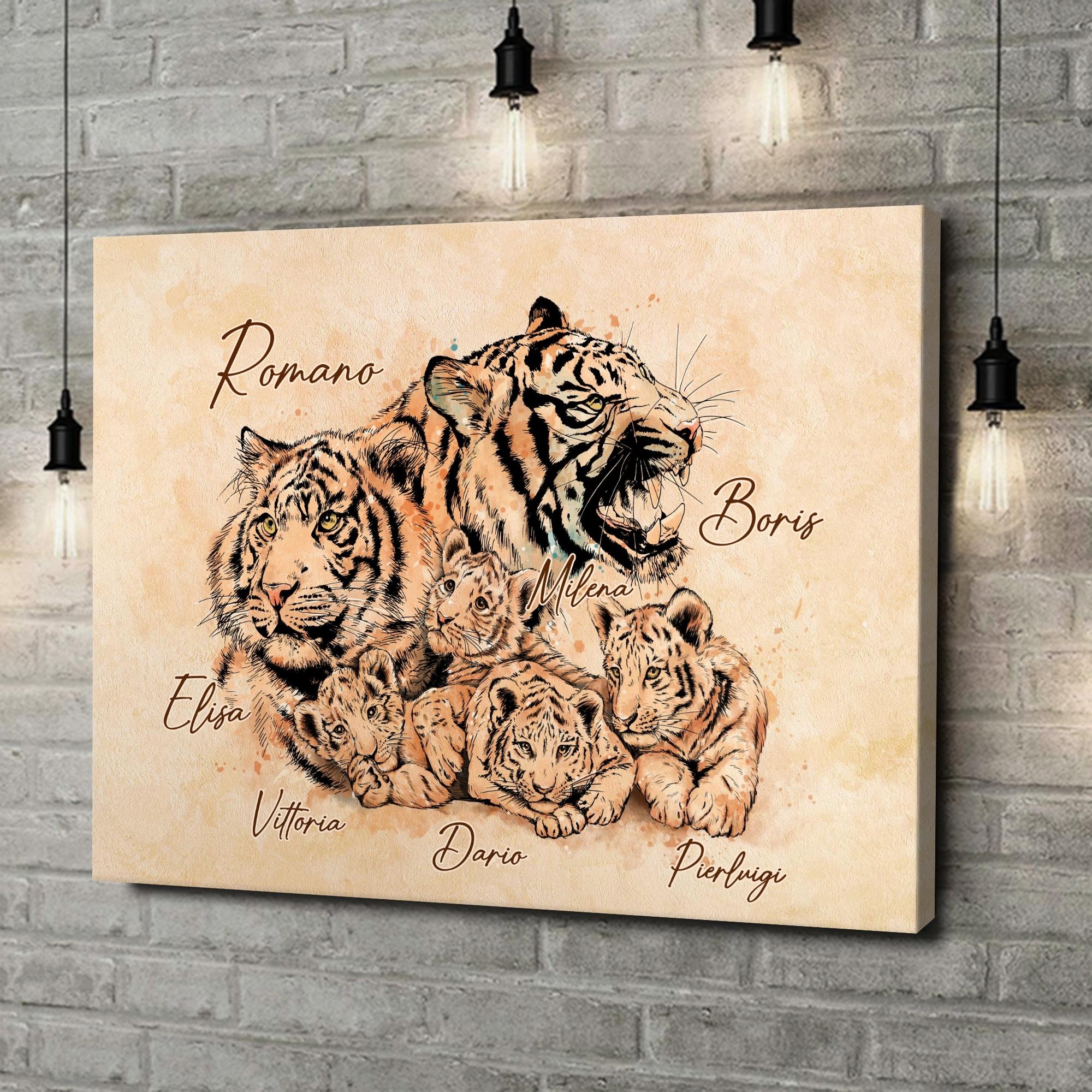 Stampa personalizzata su tela Famiglia di tigri