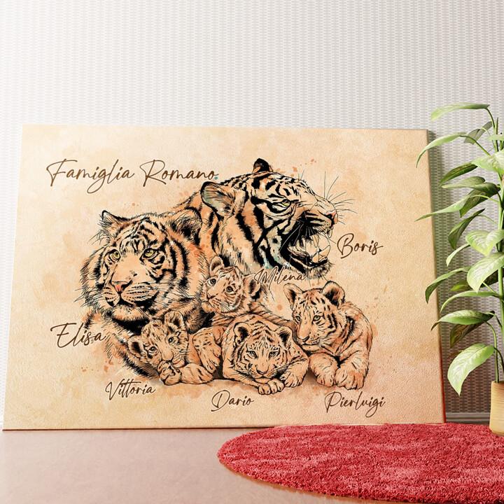 Tela personalizzata Famiglia di tigri