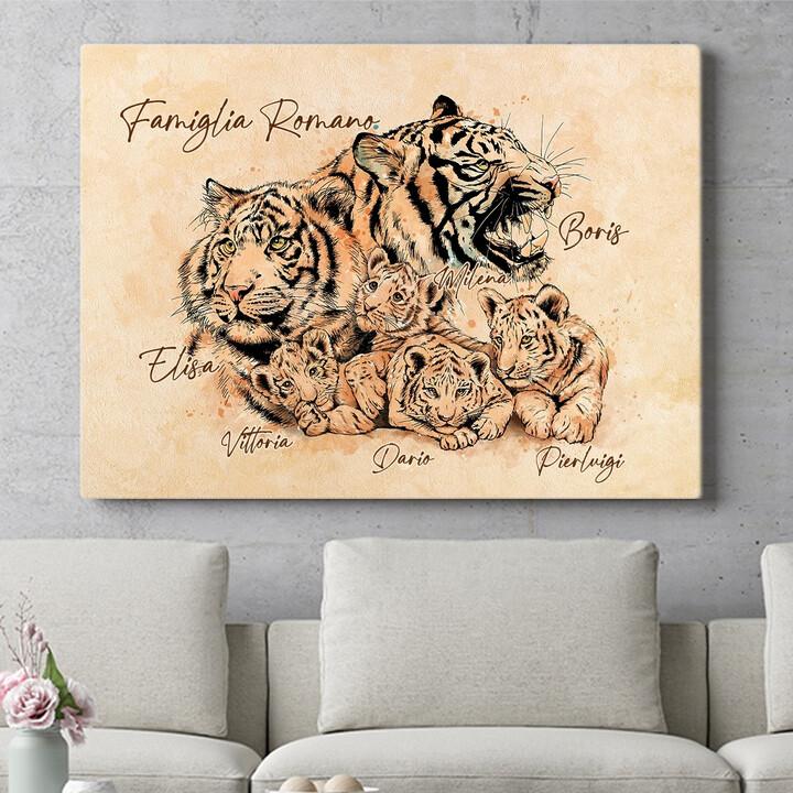 Regalo personalizzato Famiglia di tigri