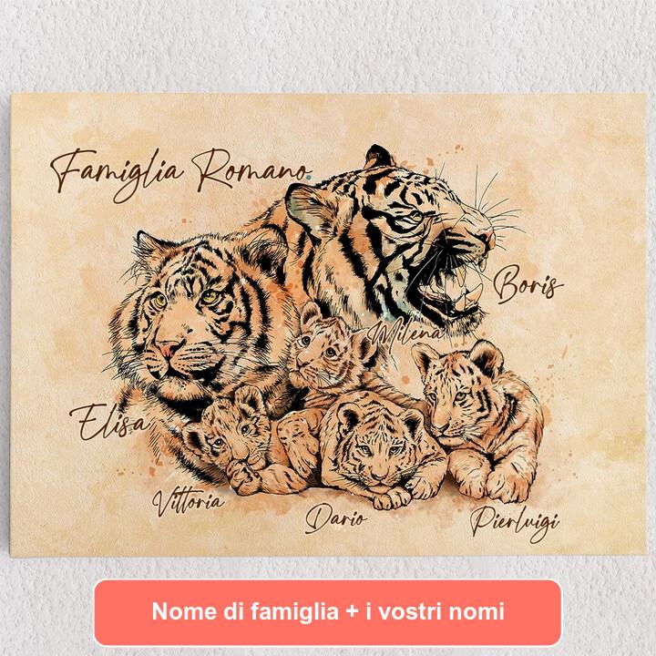 Tele personalizzate Famiglia di tigri