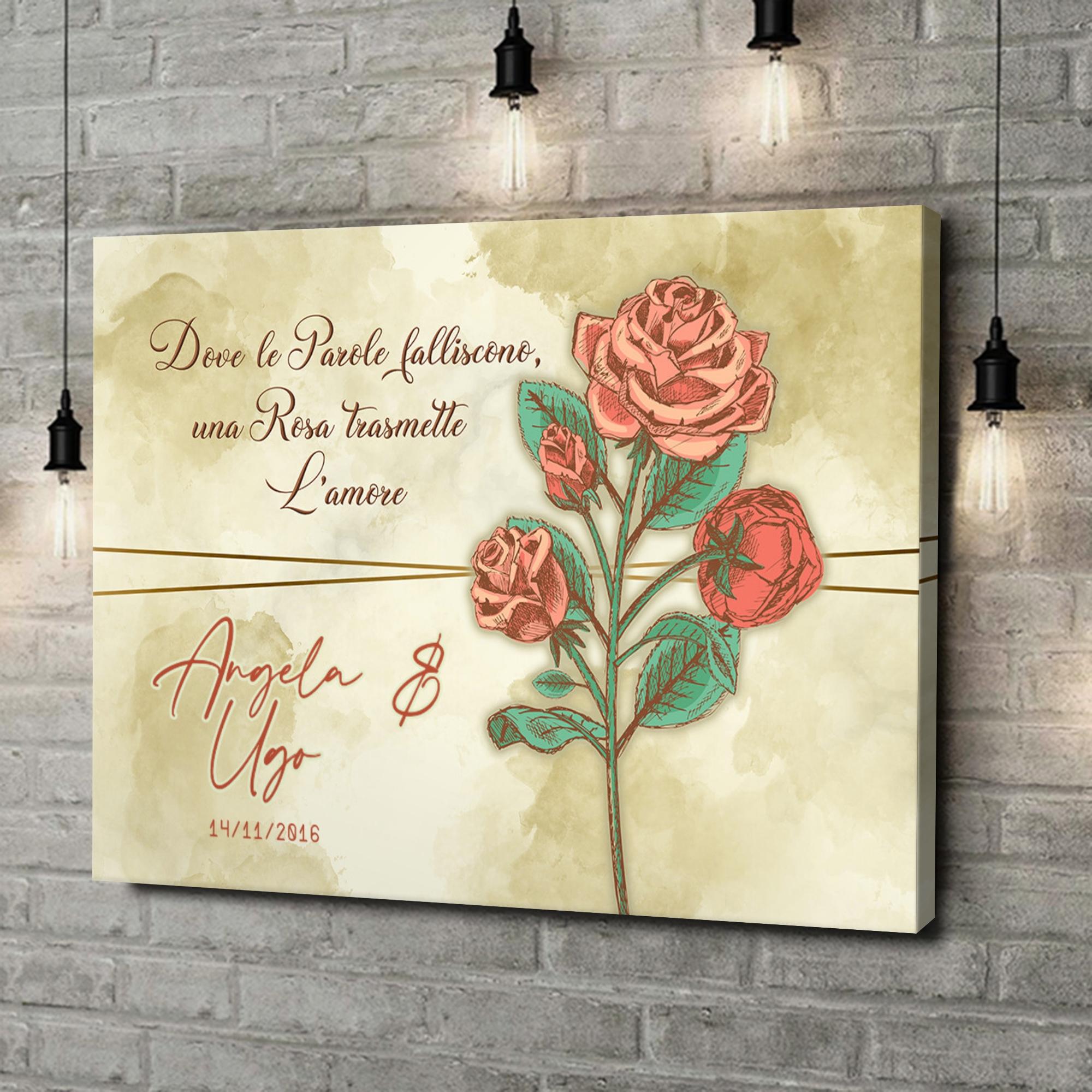 Stampa personalizzata su tela Rosa dell'amore