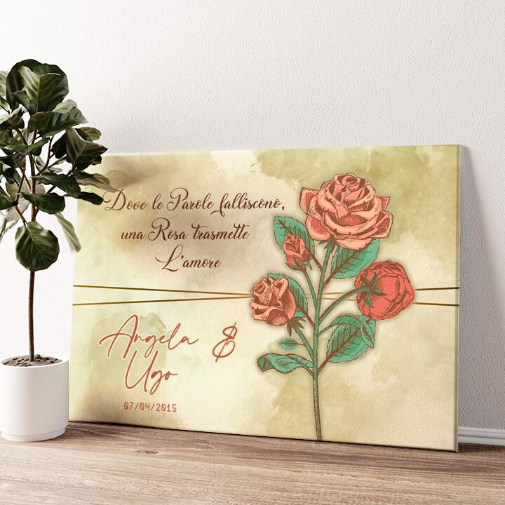 Rosa dell'amore Tela personalizzata