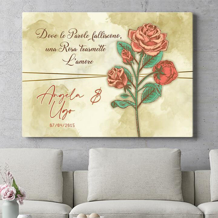 Regalo personalizzato Rosa dell'amore