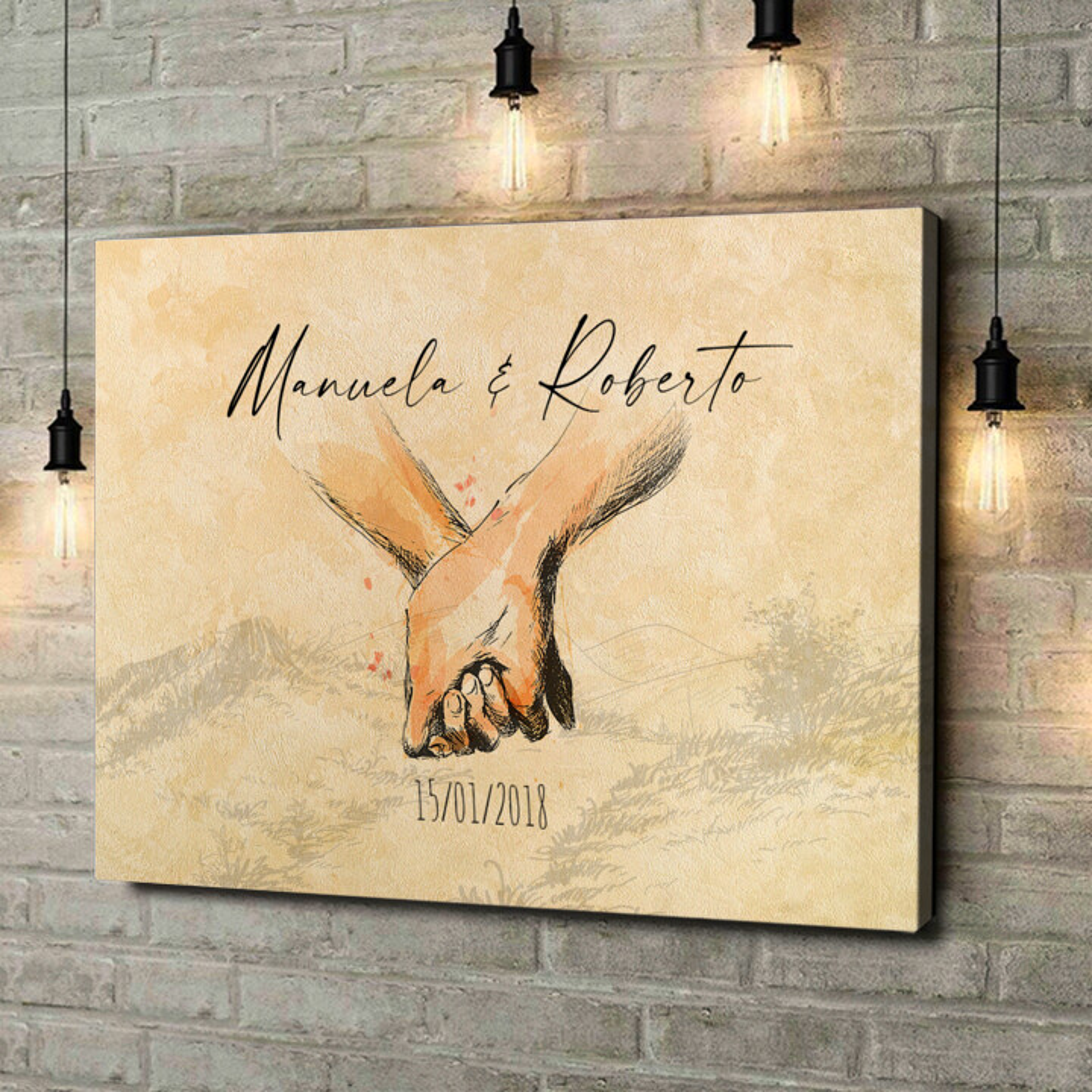 Stampa personalizzata su tela Mano nella mano