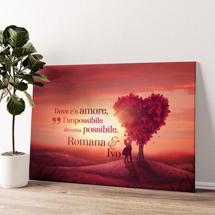 Albero dell'amore Tela personalizzata