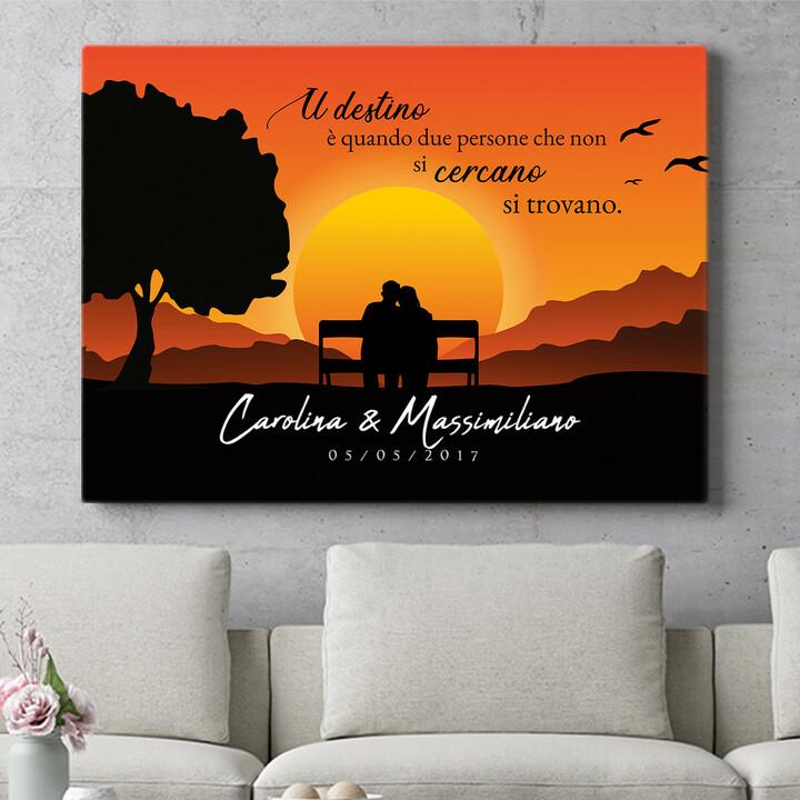 Regalo personalizzato Panchina al tramonto