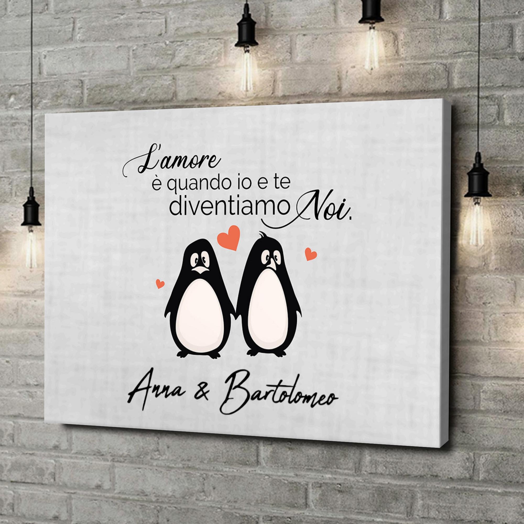 Stampa personalizzata su tela Set di pinguini