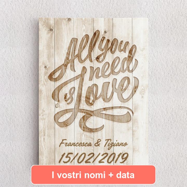 Tele personalizzate L'amore è tutto ciò che serve