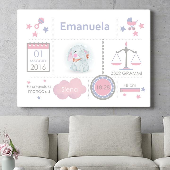 Regalo personalizzato Tela Baby elefante